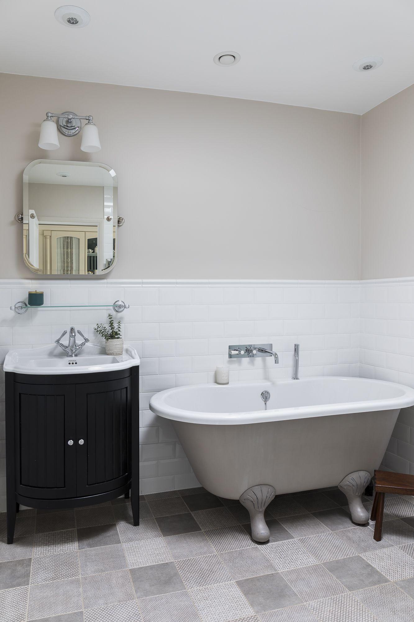 traditional bathroom patchwork floor tiles Topps tiles