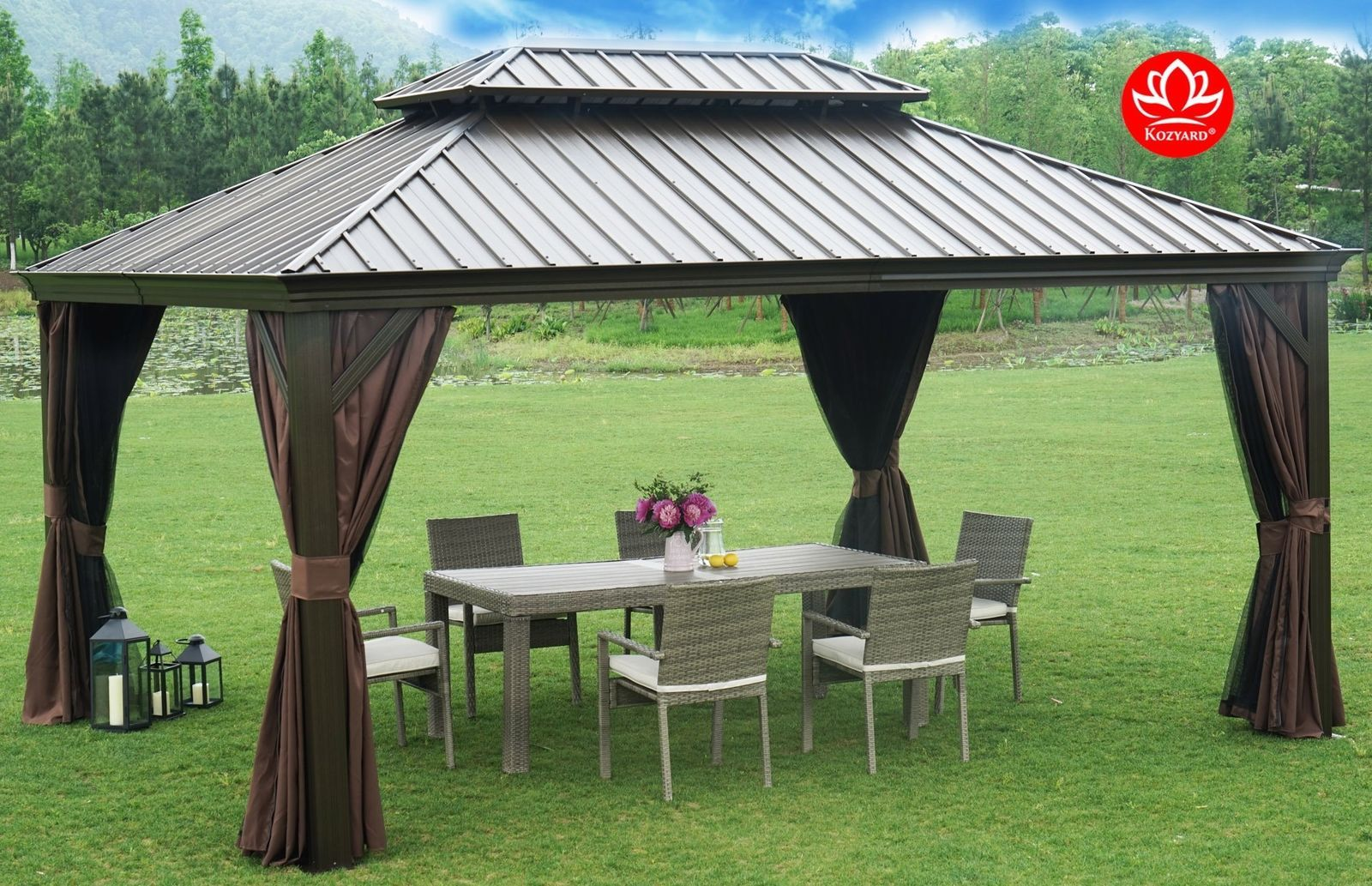 Permanent Gazebo Hardtop Aluminum Frame 12 X 16 Outdoor Patio