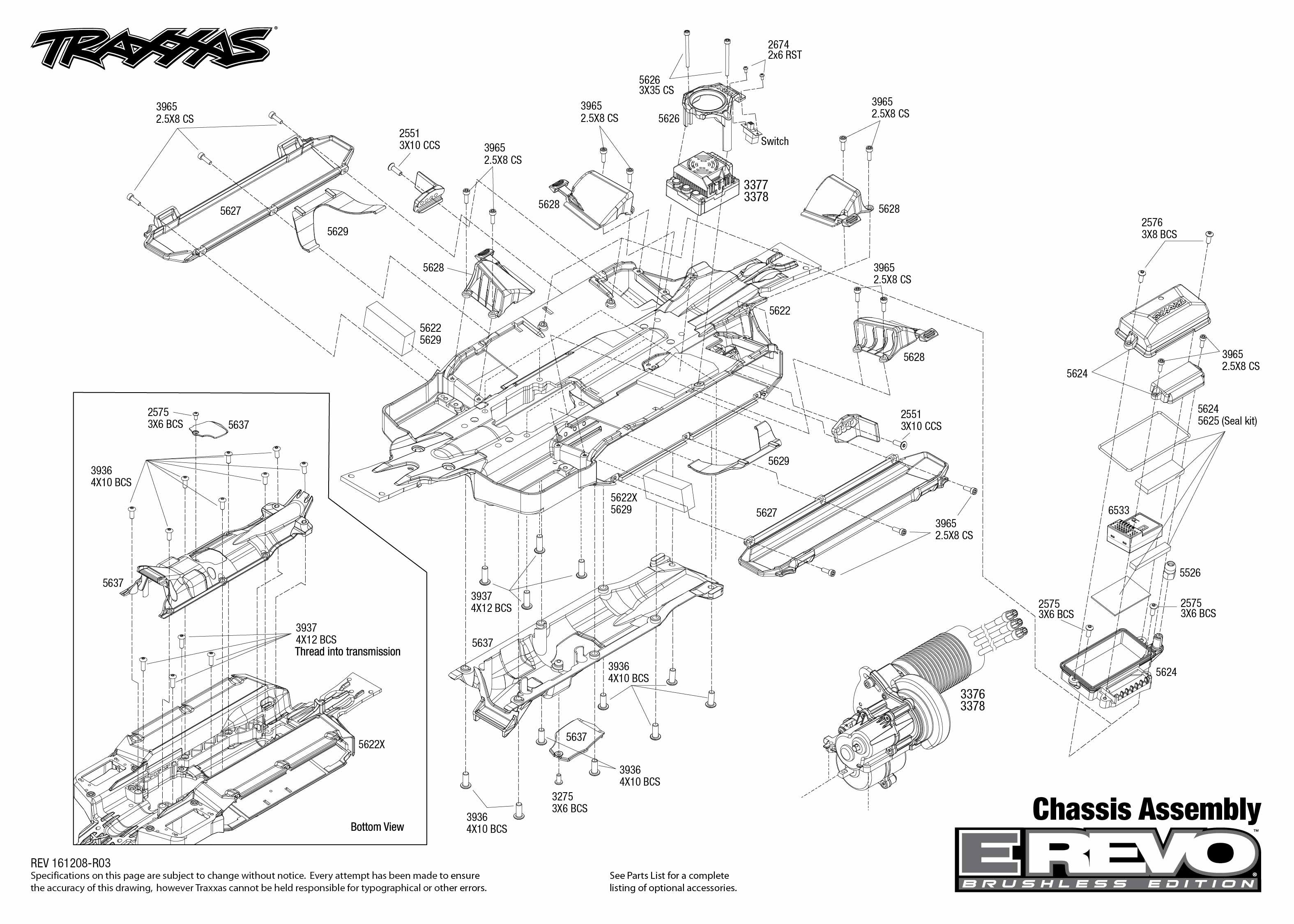 E-Revo Brushless (56086-4) Chassis Assembly Exploded View