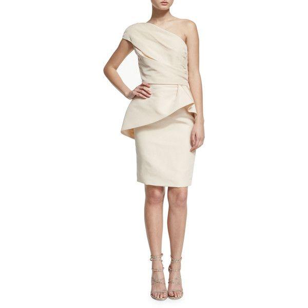 Monique Lhuillier One-Shoulder Peplum Cocktail Dress ($2,120 ...