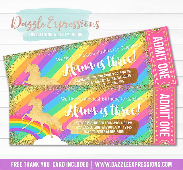 Printable Rainbow and Gold Glitter Unicorn Ticket Birthday - free ticket printing