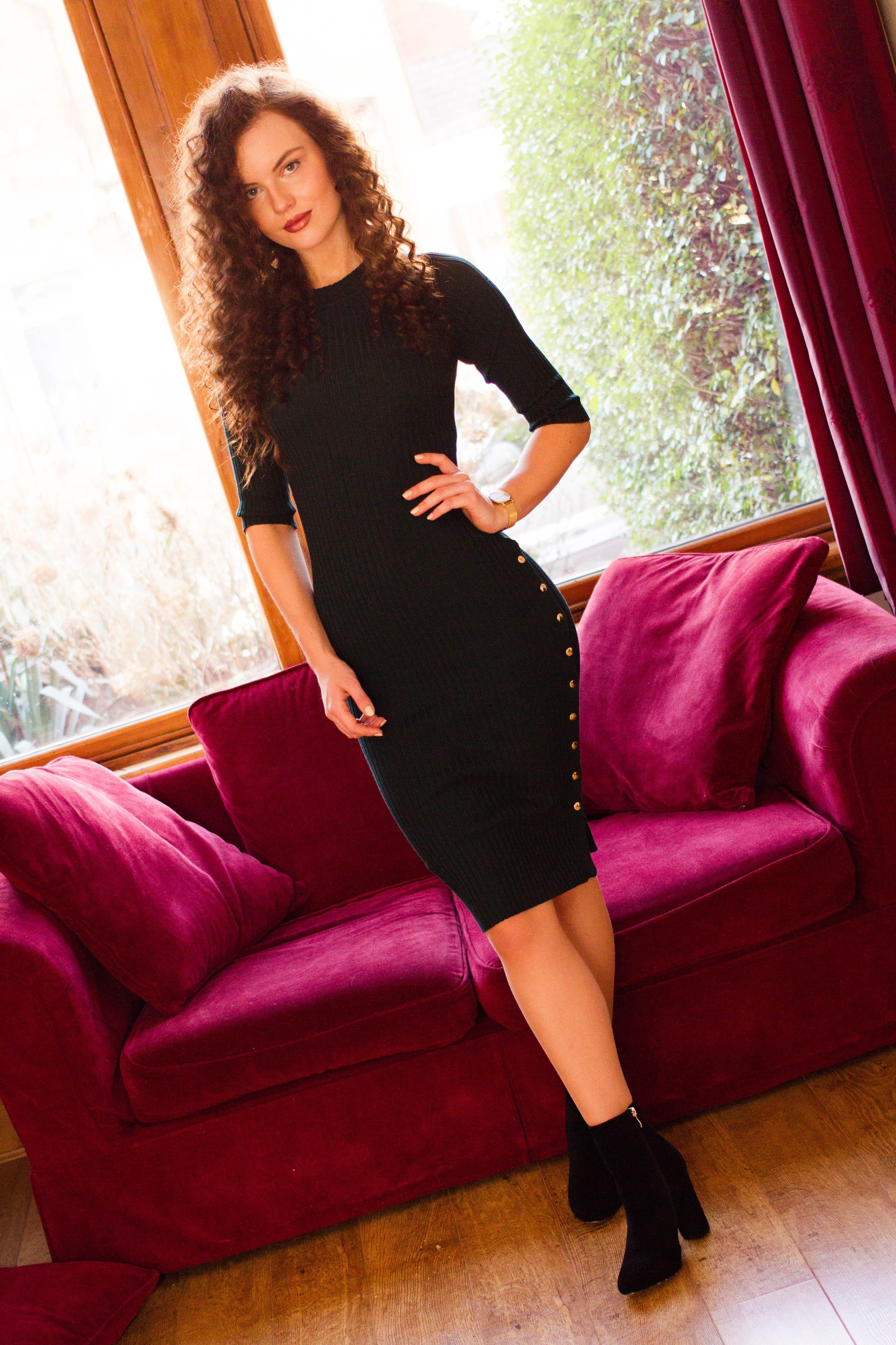 bea55cf213c flattering bodycon knitted midi dress with black ankle boots ...