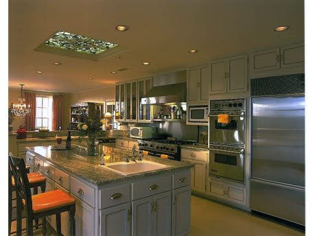 Love the skylight and the countertops in this luxury New Mexico kitchen