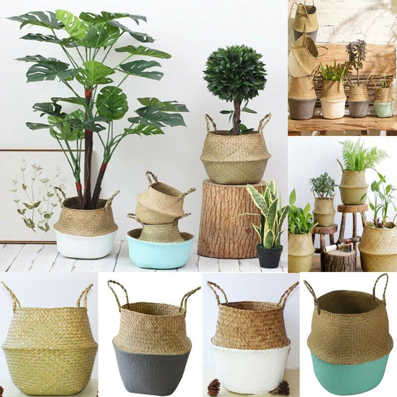 Seagrass Woven Storage Wicker Basket Flower Plant Straw Pots Bag Home Decor