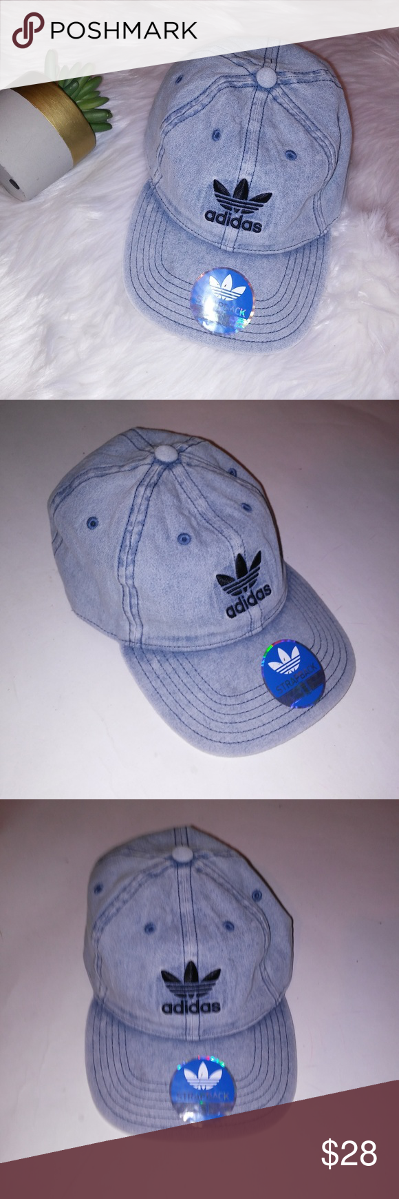 4014bf7799f24 Adidas Originals Hat Mens Adidas Originals Hat Mens Cap Washed Blue Denim  Trefoil Adjustable Fit Strapback