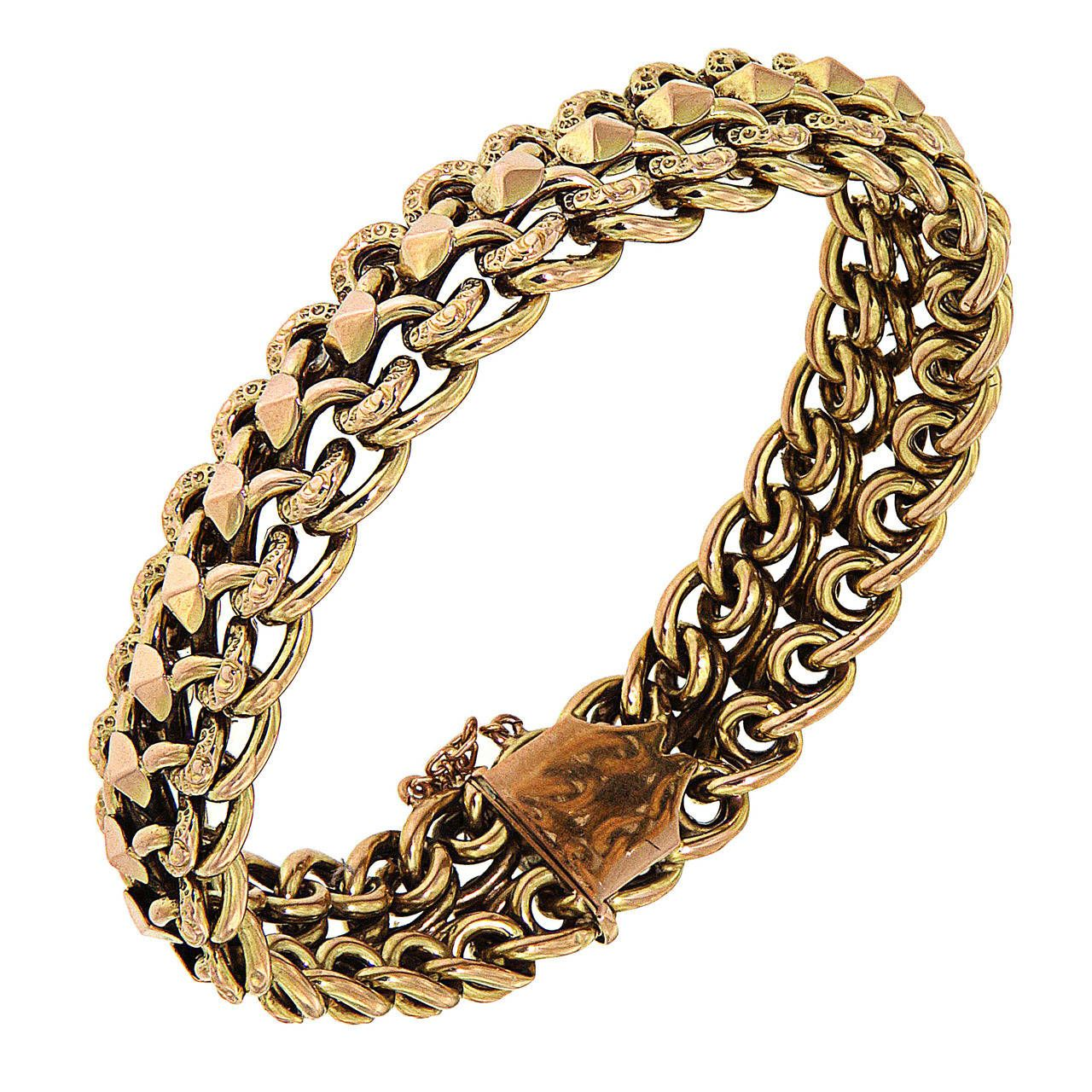 1950s Engraved Gold Bracelet | From a unique collection of vintage cuff bracelets at https://www.1stdibs.com/jewelry/bracelets/cuff-bracelets/