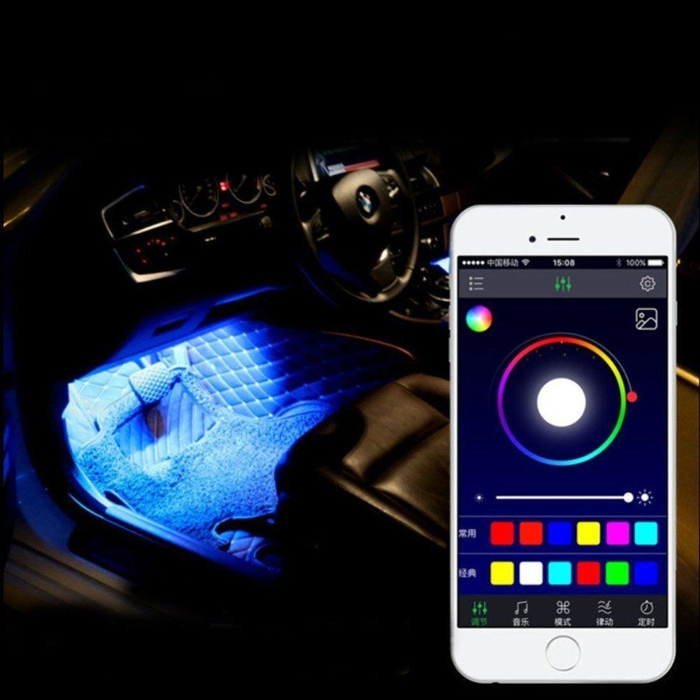 SJPLIght Car LED Strip Lights 4 Pcs 48 LEDs Car Interior RGB Music  Atmosphere Floor Underdash Lights APP Control Bluet… | Light app, Bluetooth  light, Waterproof car