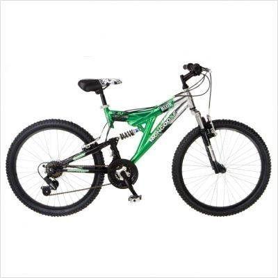 Mongoose Maxim Dual Suspension Mountain Bike 24 Inch Wheels Green