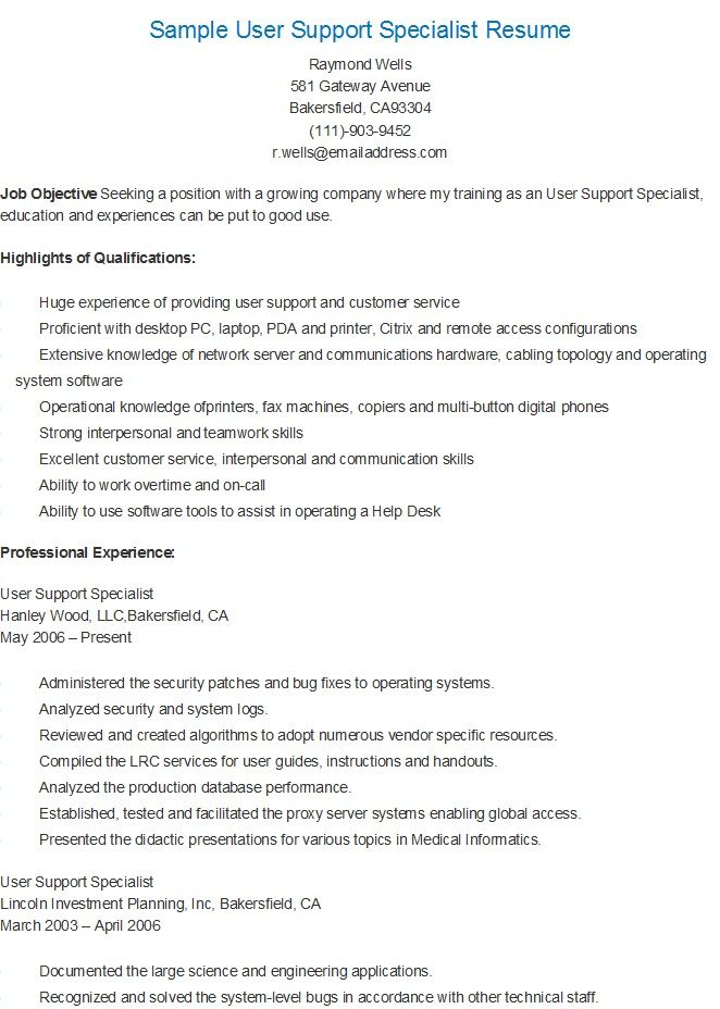 Sample User Support Specialist Resume resame Pinterest - customer specialist resume