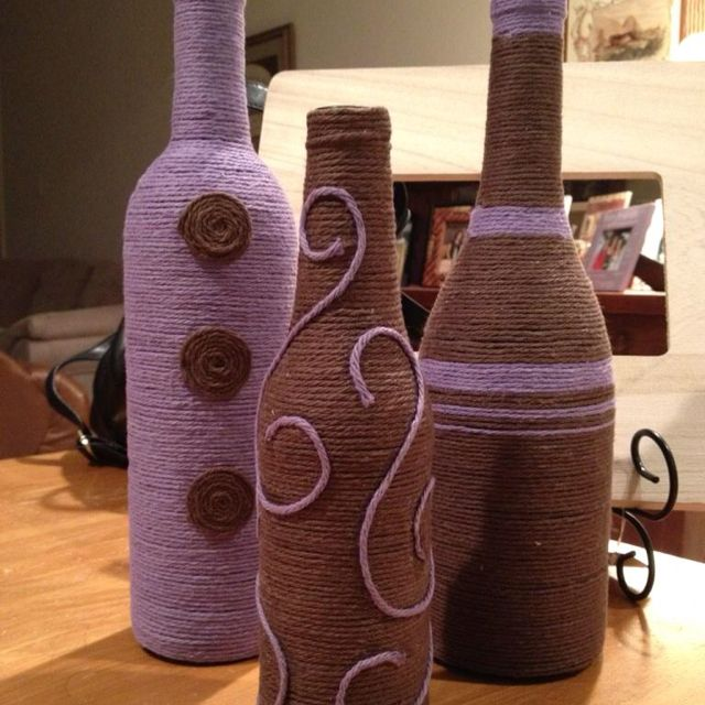 Beer And Wine Bottle Crafts Diy Yarn Beer Bottles Wine Bottles Def In Different Craft Ideas Beer Bottle Crafts Wine Bottle Diy Crafts Wine Bottle Diy
