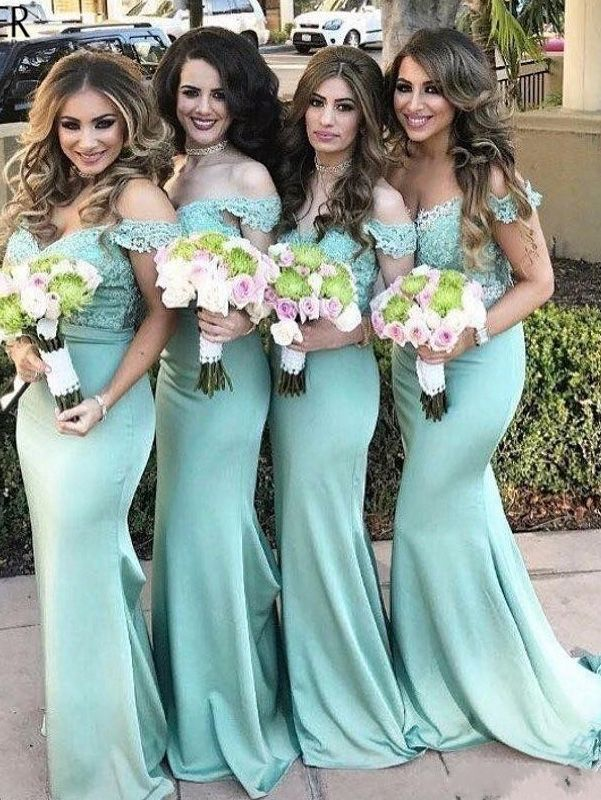 66ecccc99bb Off the shoulder Mermaid Mint Green Long Bridesmaid Dress