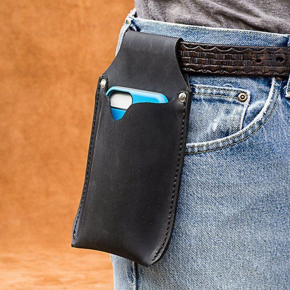 Large leather cell phone holster for your belt, handmade from Genuine leather with rivets #excelwordaccessetc