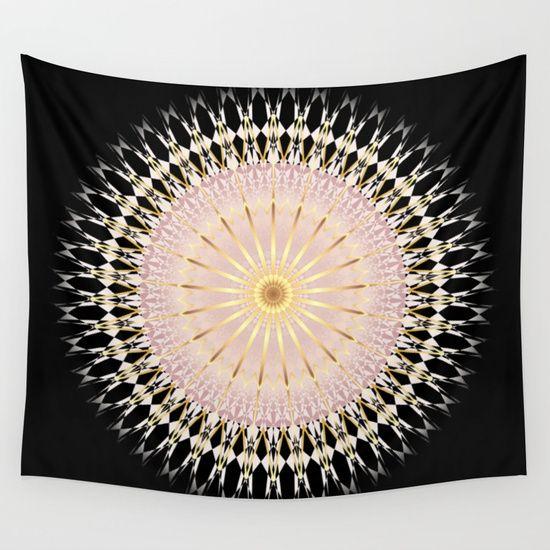 #gold #blush #pink #black #mandala #walltapestry #geometric #elegant #baydur
