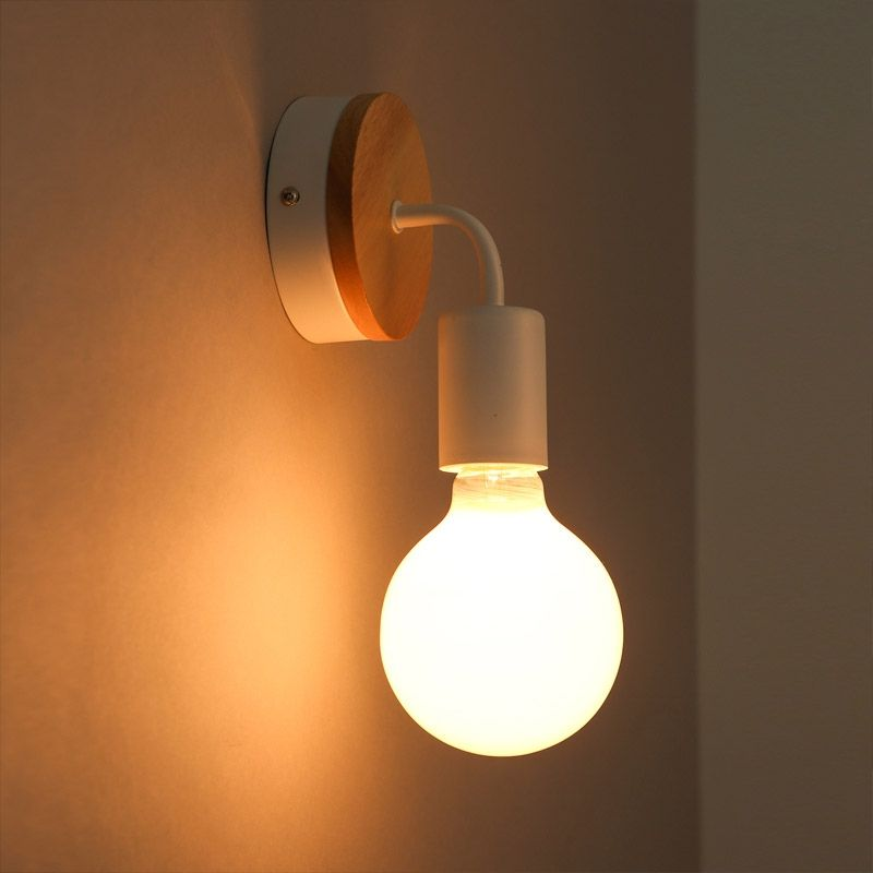 Minimalist Exposed Bulb Single Light Wood Round Backplate Indoor