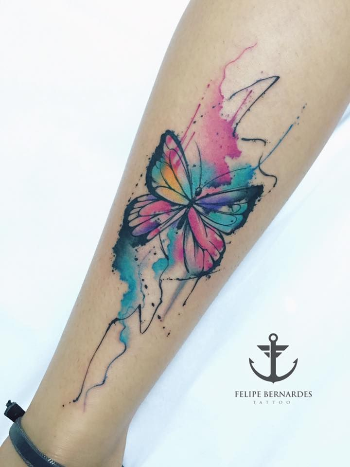 37e8f0c74b579 Pretty watercolor butterfly Colour Tattoo For Women, Small Tattoos, Leg  Tattoos, Unique Tattoos
