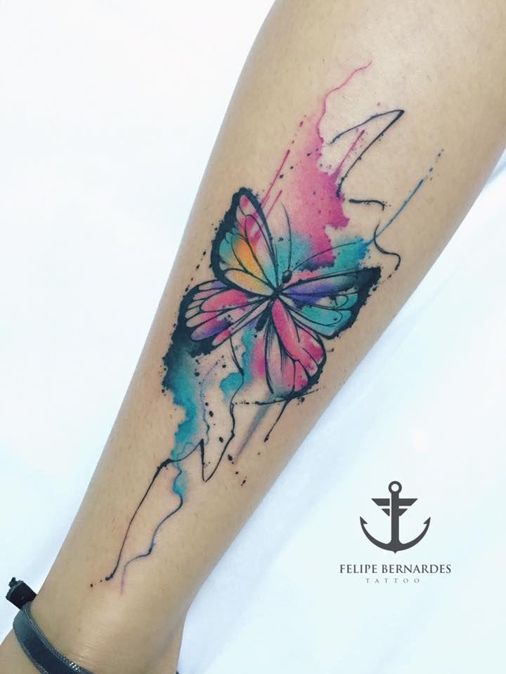 Joyful Watercolor Tattoos By Felipe Bernardes Butterflies