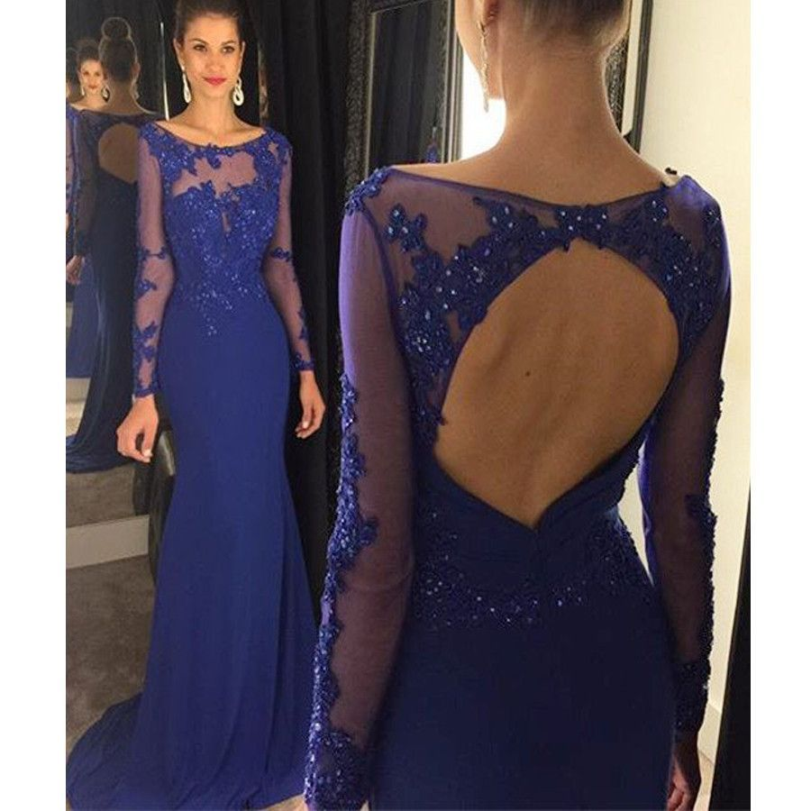 Long sleeve royal blue open back round neck appliques charming long