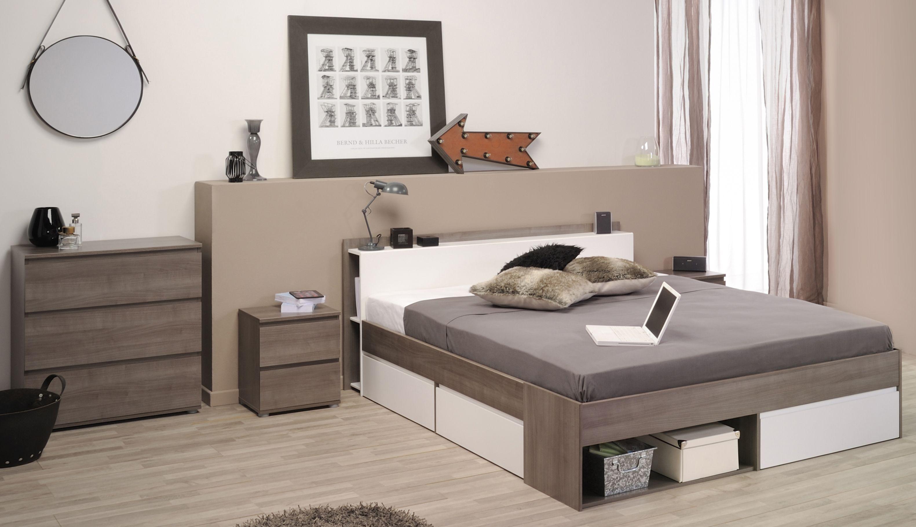 Schlafzimmer Mit Bett 160 X 200 Cm Eiche Silber/ Weiss Woody 167 ...