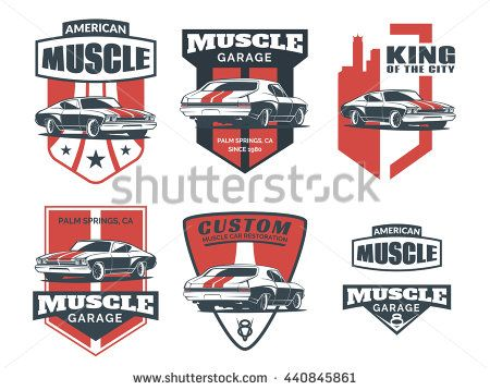 Set of classic muscle car logo, emblems, badges and icons isolated on white background. Service car repair, car restoration and car club design elements. Vector. - stock vector