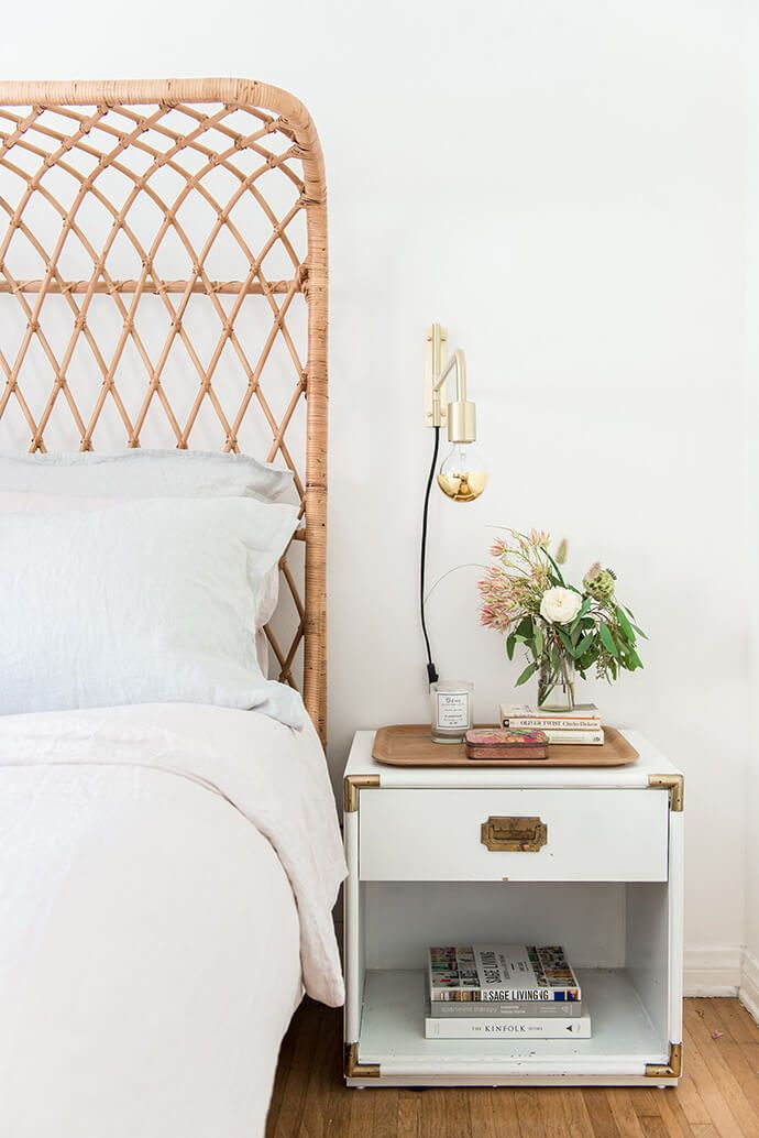 Rattan bed + campaign side table