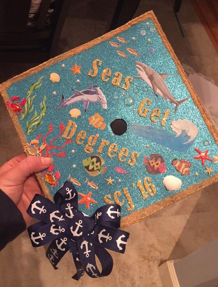 c s get degrees graduation cap 2016 diy nautical sea cute