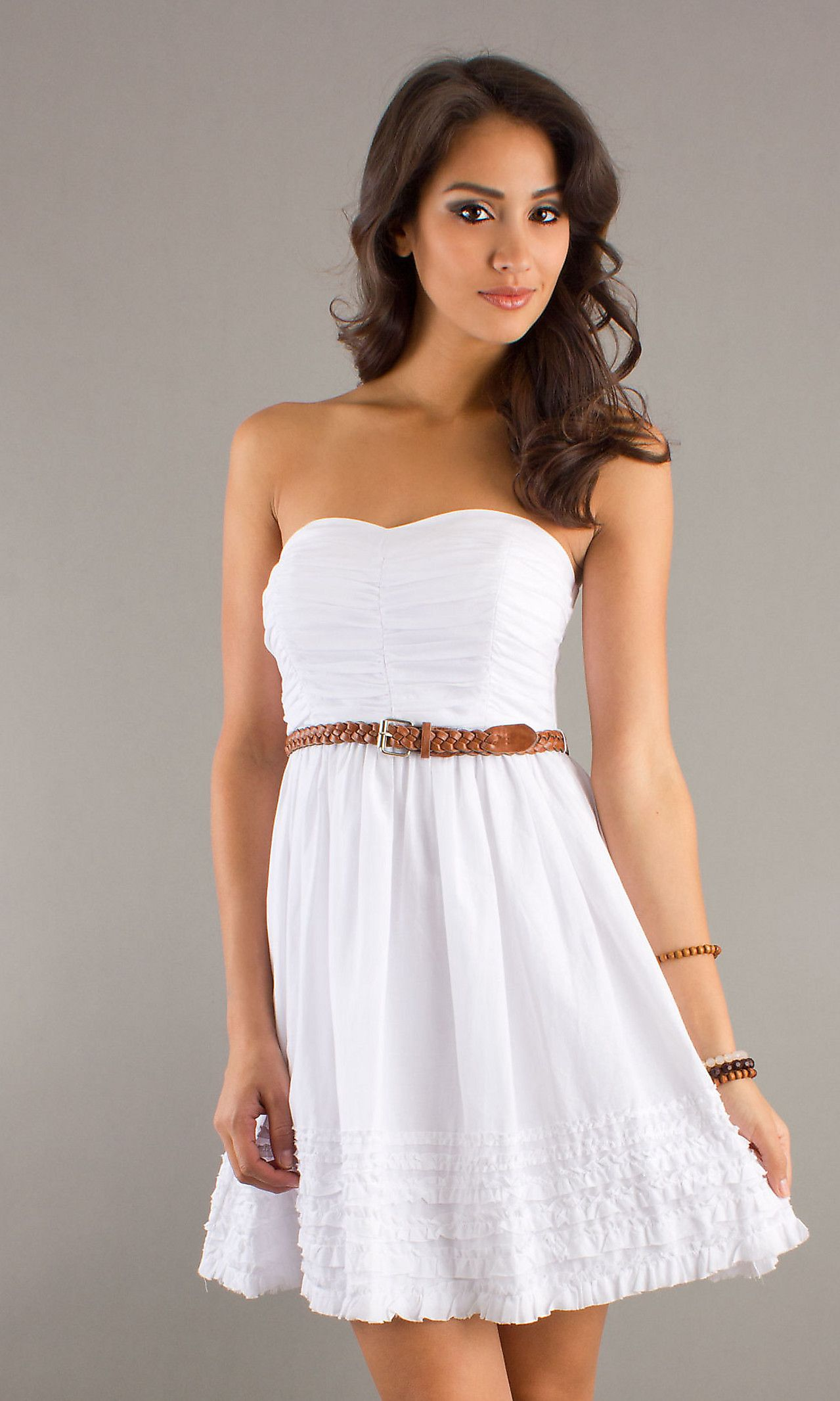 White Short Strapless Dress