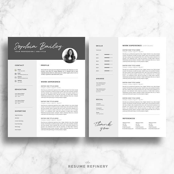 Professional Resume Template for Word Two Page Resume + Cover