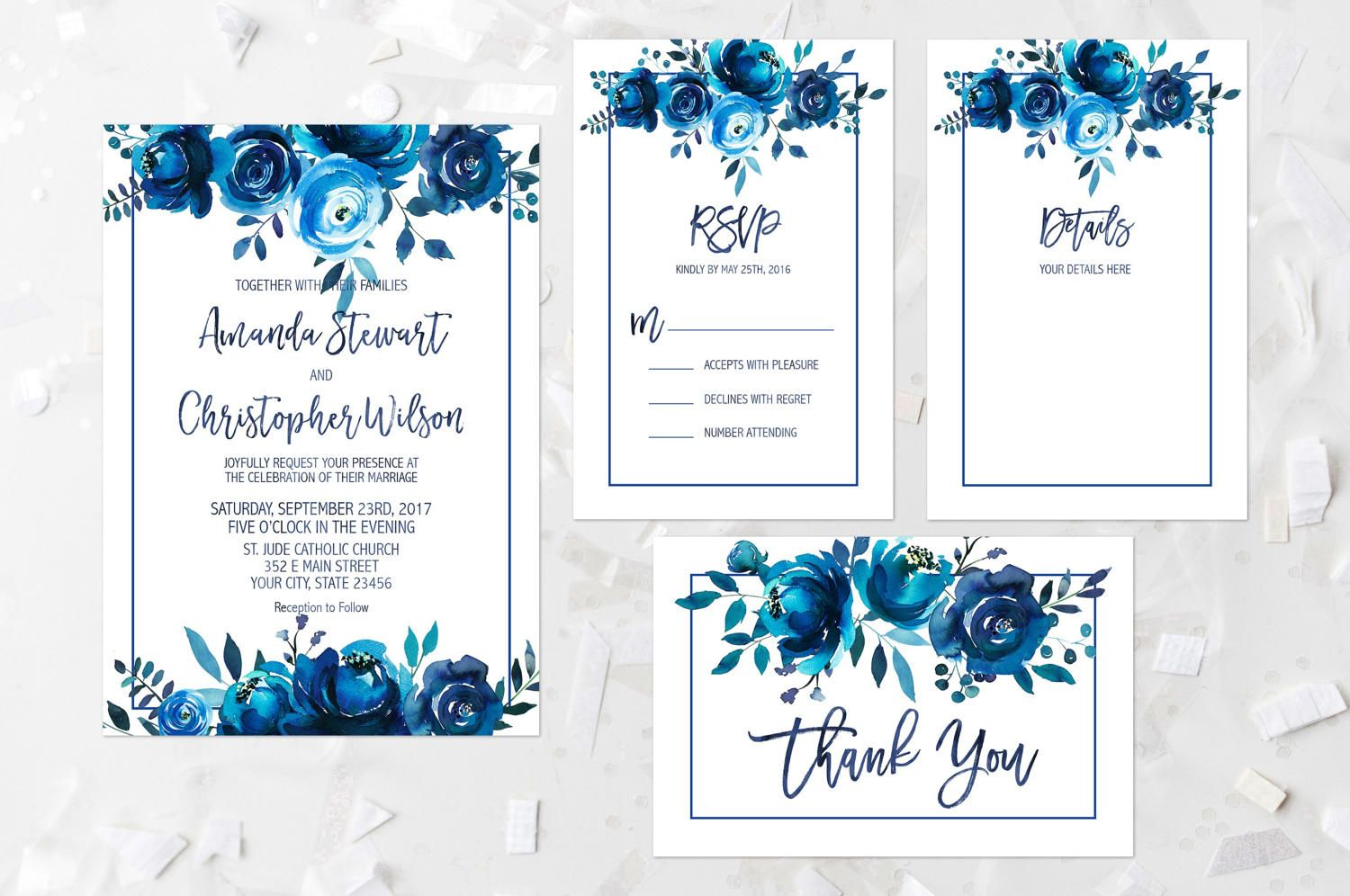 Wedding Invitation Suite Printable Indigo Floral Wedding