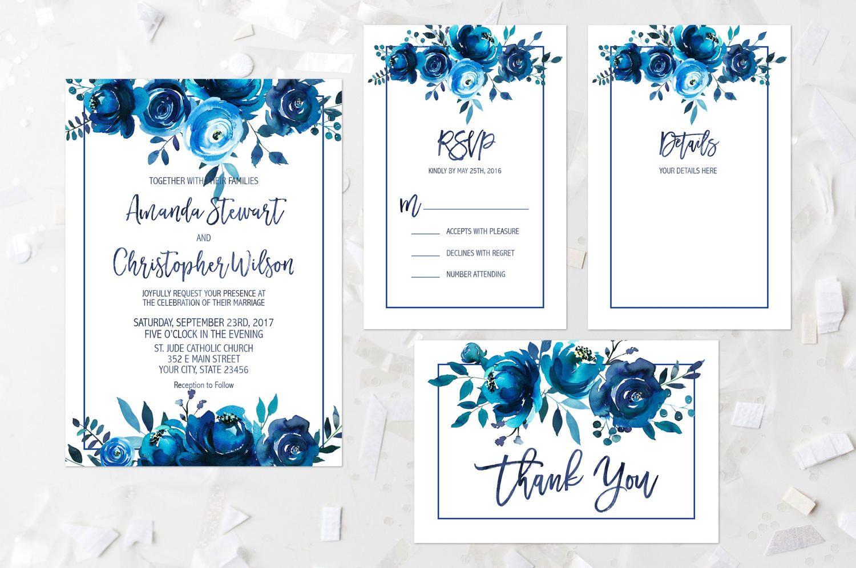 Wedding Invitation Suite Printable Indigo Floral Wedding Invite Navy ...