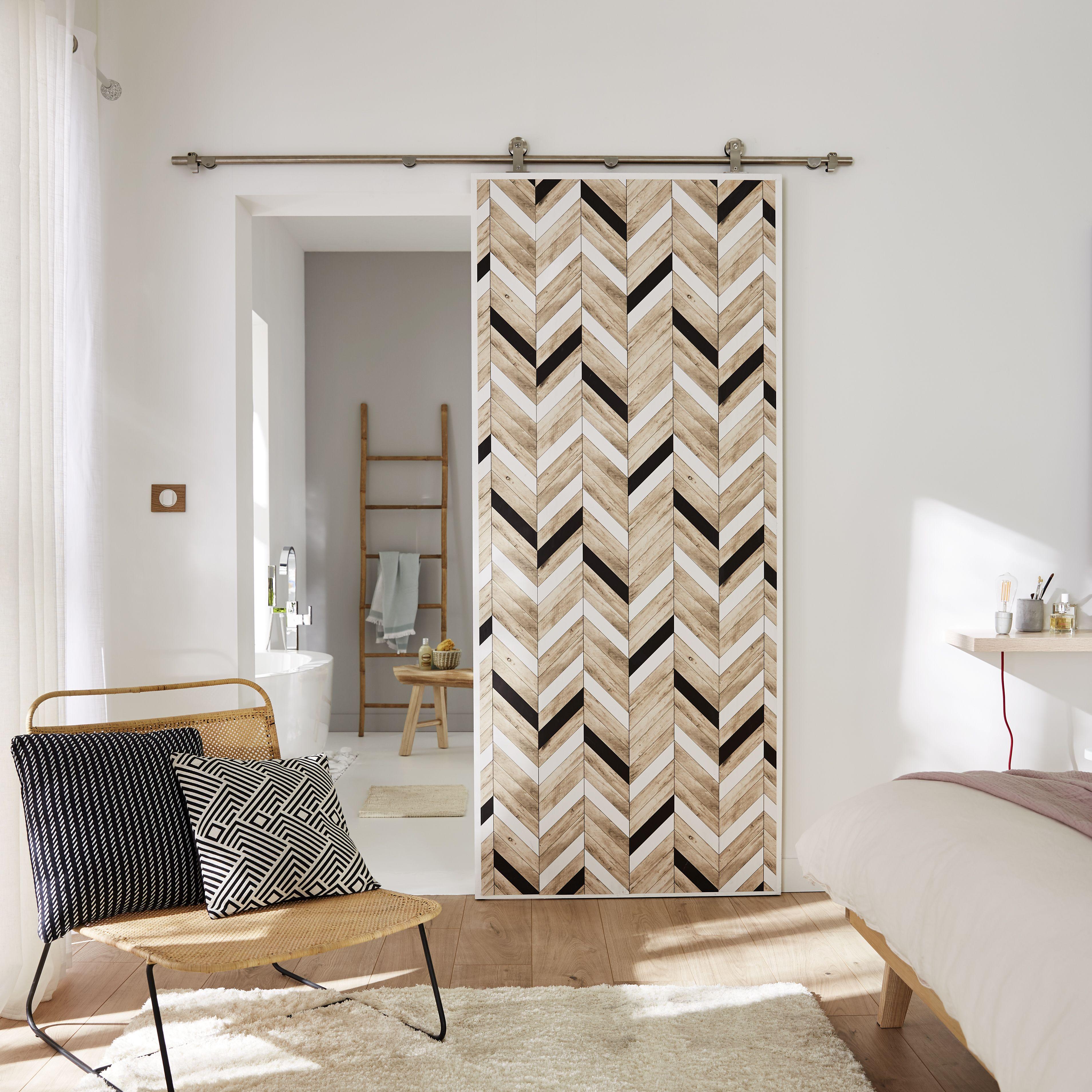 Porte Coulissante Astuce Papier Peint Effet Bois Deco Maison Decoration Maison Papier Peint