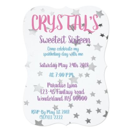 Sweet Sixteen Card  Invitations Personalize Custom Special Event