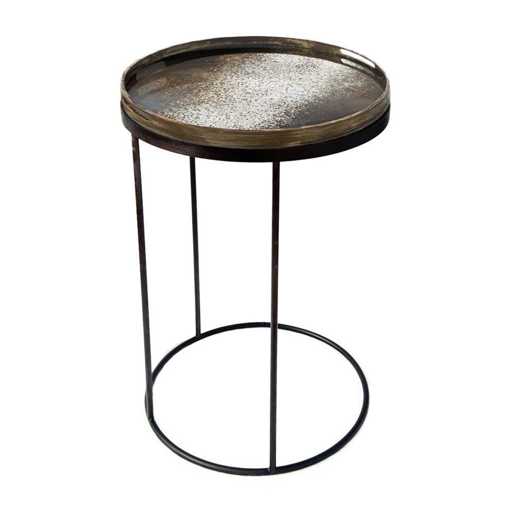 Notre Monde Tabletttisch Rund Vintage Spiegel Metall Glas Tabletttisch Couchtisch Vintage Tisch