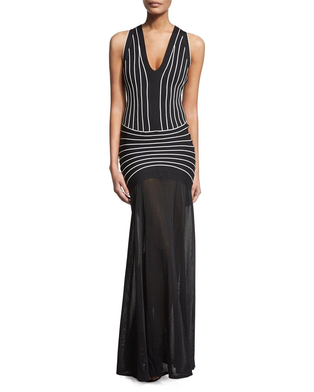 Sleeveless contrastseam halter gown black combo womenus size