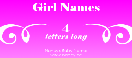 Long list of girl names with 4 letters. The names link to popularity graphs. #babynames