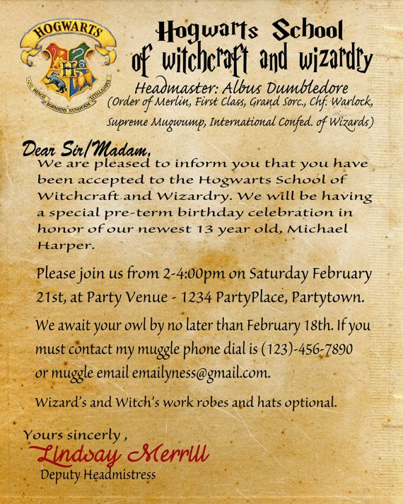 Harry Potter Birthday Invitation Acceptance by ChalkDustStudio - hogwarts acceptance letter