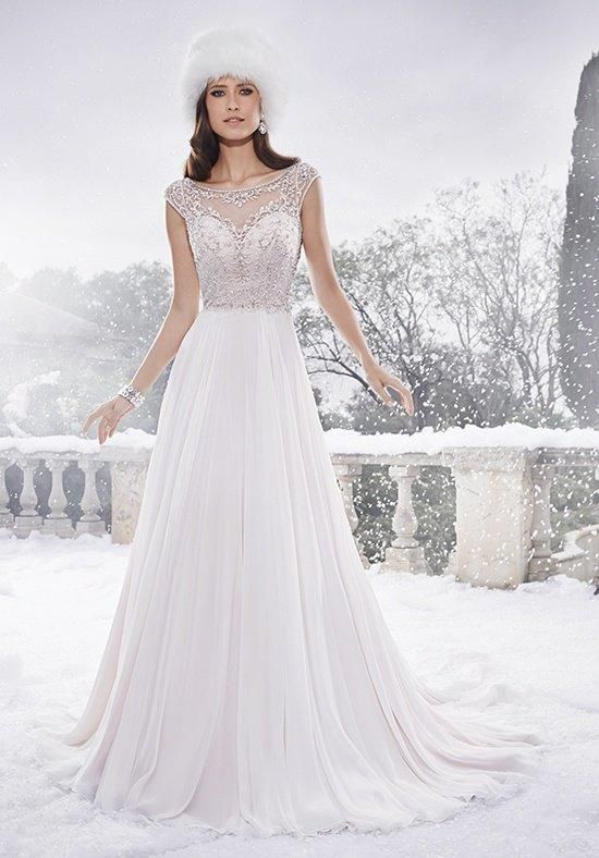 Aurora chiffon soft A-line gown with hand-beaded sheer cap sleeves ...