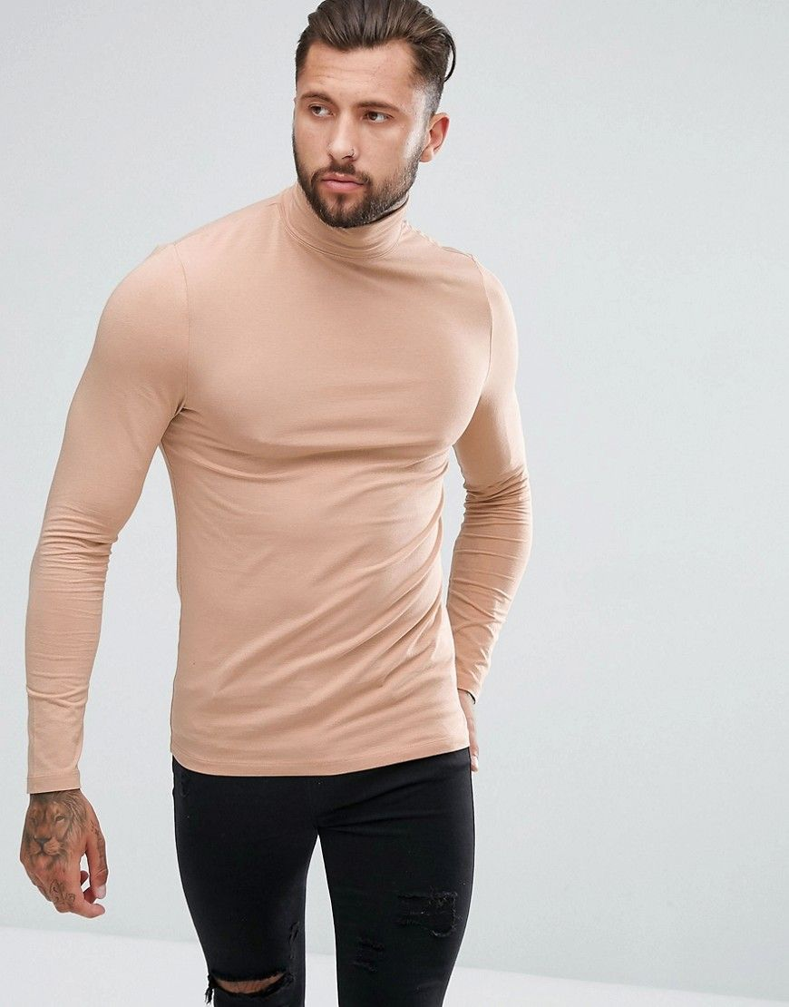 9ca08a34 ASOS Muscle Fit Long Sleeve Roll Neck T-Shirt - Beige | Products ...