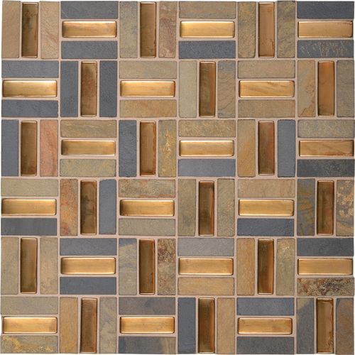 Coliseum Blend Multi Color Slate With Bronze Glass Os01 Crosshatch Glass Mosaic Tiles Daltile Mosaic Glass