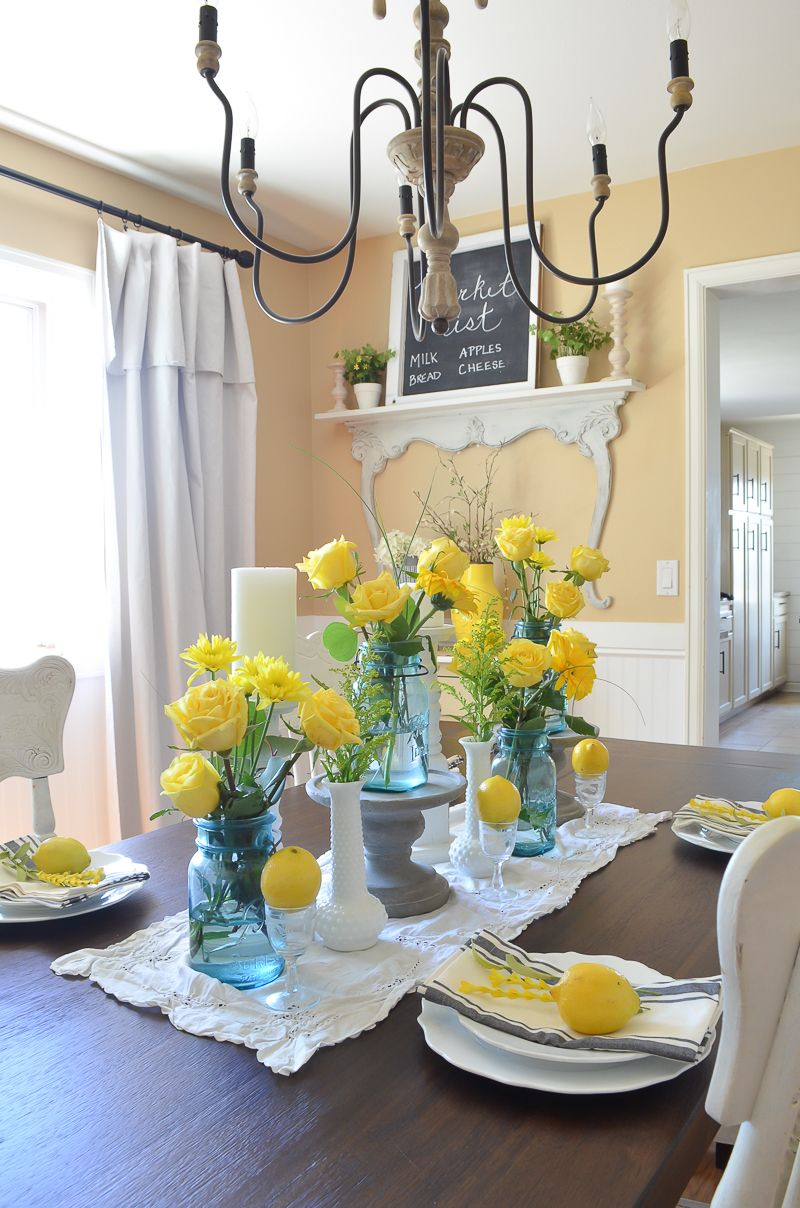 Simple Summer Dining Room Farmhouse Dining Rooms Decor Dining Room Table Centerpieces Dining Room Table Set