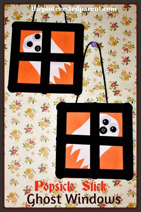 Popsicle Stick Ghost Window Crafts #halloweencraftsfortoddlers