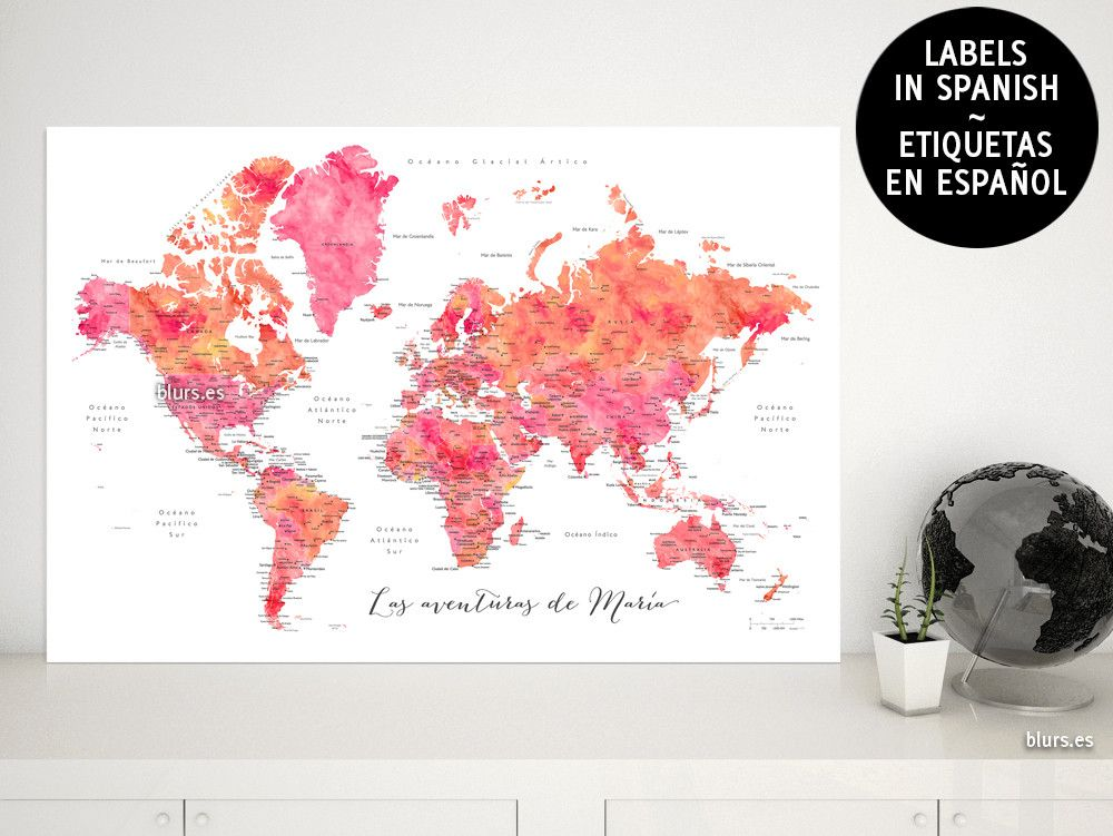 Custom Quote Hot Pink Watercolor Printable World Map With Cities - World map with cities and countries labelled