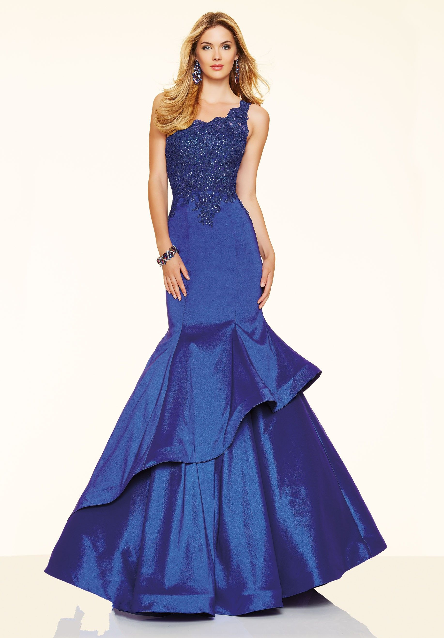 Royal blue one shoulder taffeta fit and flare trumpet mermaid prom