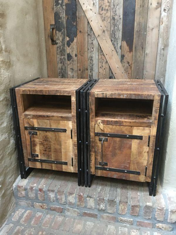 Populair Stoer houten industriele landelijke kastjes kastje halkastje @LT38