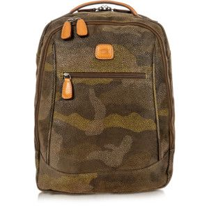 Bric's Life Camouflage Military Green Micro Suede Backpack