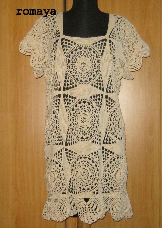 Gorgeous Crochet dresshandmade lace tunic vintage by romayacrochet