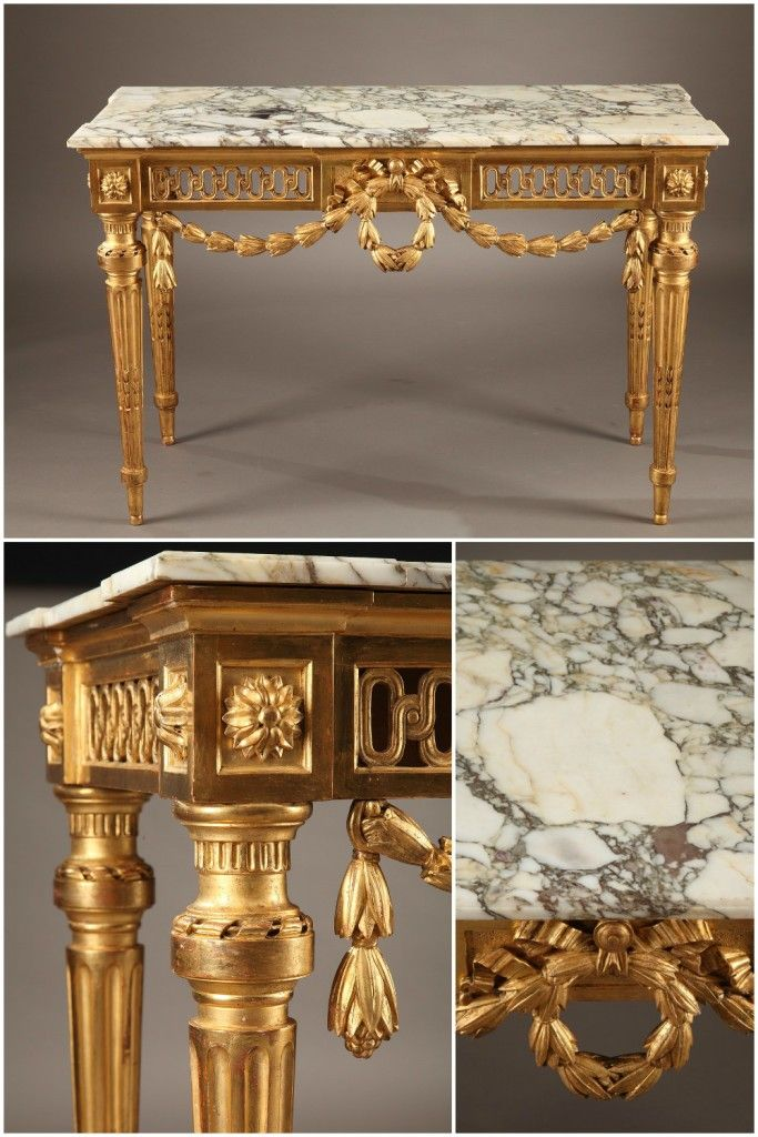 Louis XVI Console Table With A White Marble Top And Sculpted, Gilt Wood.  The Underside Of The Marble Is Embellished With A Sculpted, In.