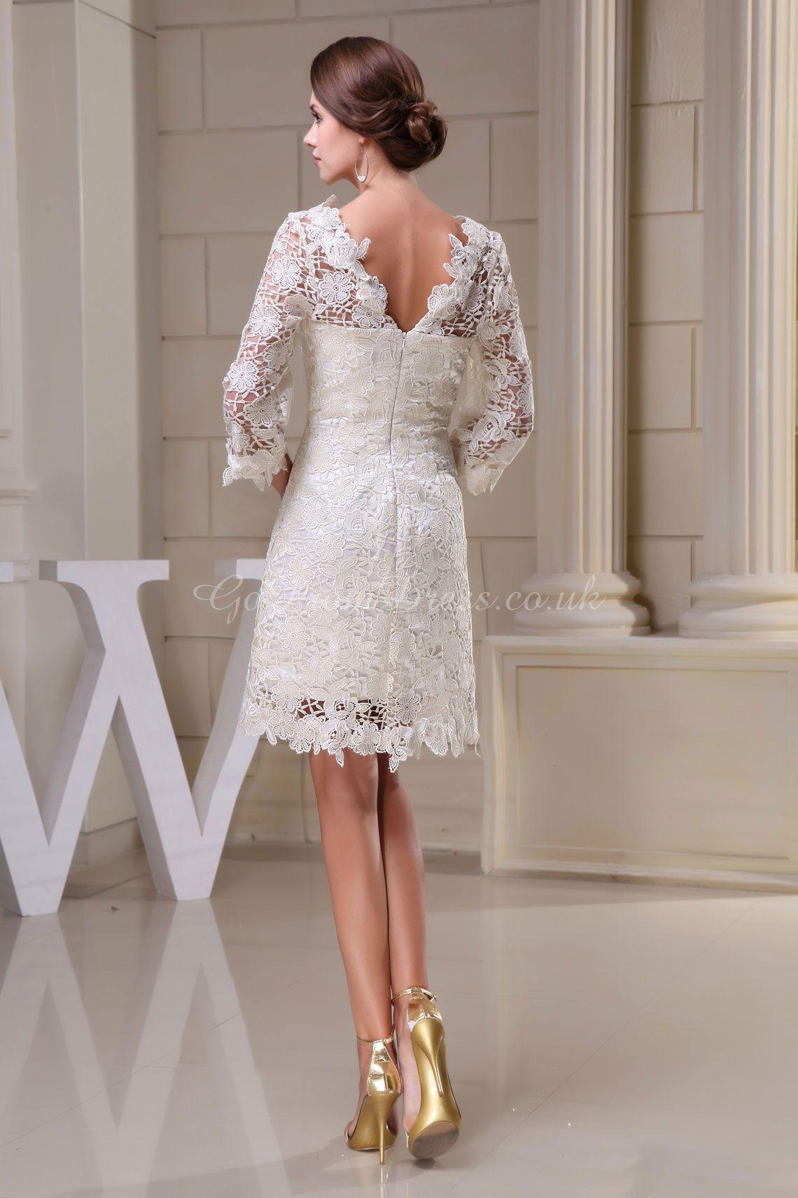 Knee Length Wedding Dresses with Sleeves | Dress With Sleeves Knee ...