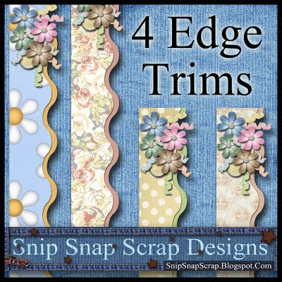 Snip Snap Time to Scrap: 4 Free Digi Scrapbook Floral Edge Trims ♥♥Join 3,300 people. Follow our Free Digital Scrapbook Board. New Freebies every day.♥♥