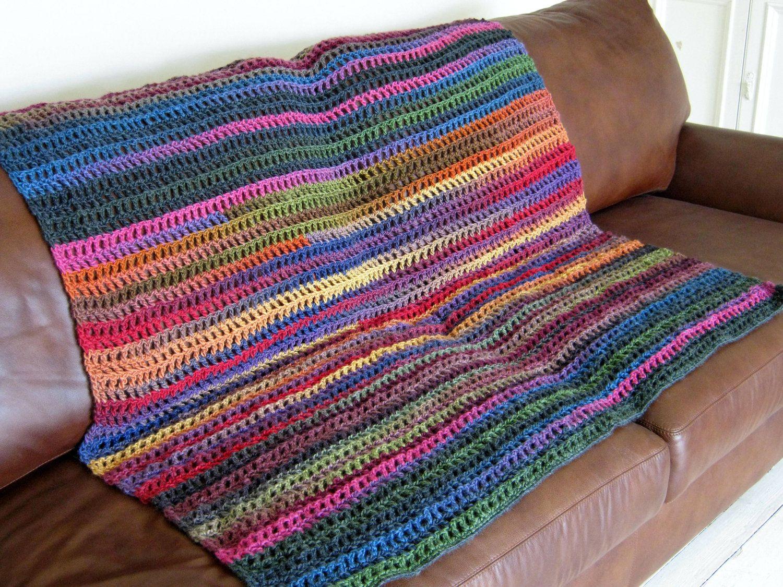 Crochet Stripes Variegated Wool Blend Blanket Afghan Throw. £90.00 ...