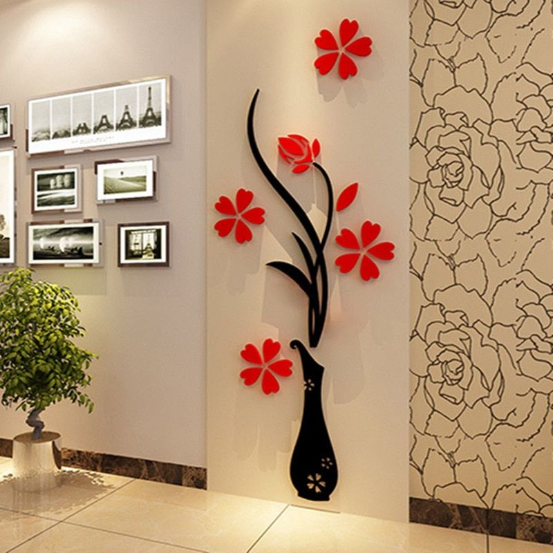 5 Size Colorful Flower Vase 3d Acrylic Decoration Wall Sticker Diy